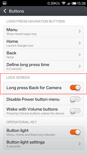 You can access this via Settings > Buttons > Long Press Back for Camera.