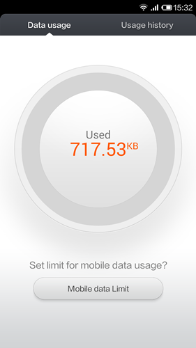 The homepage of Data Usage shows you the amount of data used and another tab shows you the data consumption by individual apps for the day.
