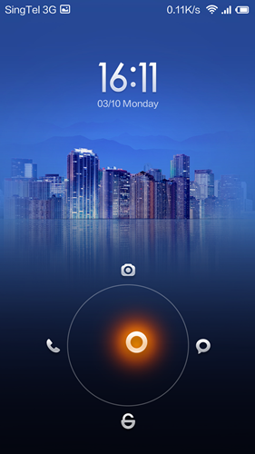 The typical lock screen on MIUI. <br> Lock screens will vary according to themes used.
