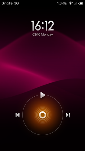 The music shortcuts on the lock screen.