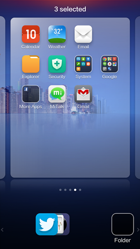 Do a pinch gesture on the apps to stack them together.