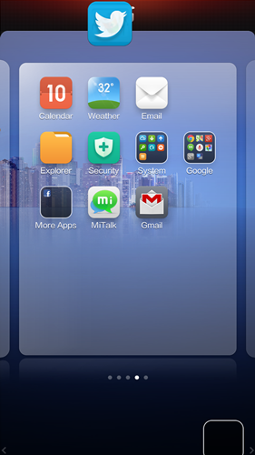 Drag the stack of apps to the top.
