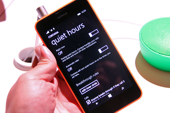 Quiet Hours (i.e., a do not disturb function) comes to Windows Phone 8.1, and Cortana can also handle that for you.