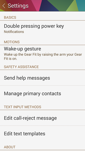 The power key can be used as a shortcut on the Gear Fit.