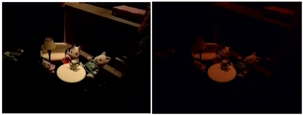 Left: Low Light Mode. <br> Right: Night Mode. <br> If you combine both hardware and software features, it is not hard to guess why the Low Light Mode takes better photos under low light conditions.