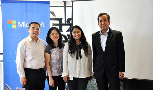 (From left to right) Joben Rara (technology evangelist), Unyx Sta. Ana (CEO of Orchestrack, a Microsoft BizSpark Plus Startup), Sheryl De Luna (Marketing Communications Manager of Microsoft Philippines), and Alvin Gendrano (Director for the Developer and Platform Group for Microsoft Philippines)