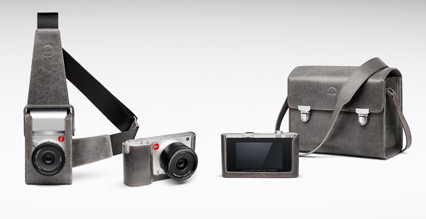 L to R: Leica Leather holster, Leather protector (front and back), Leather system case