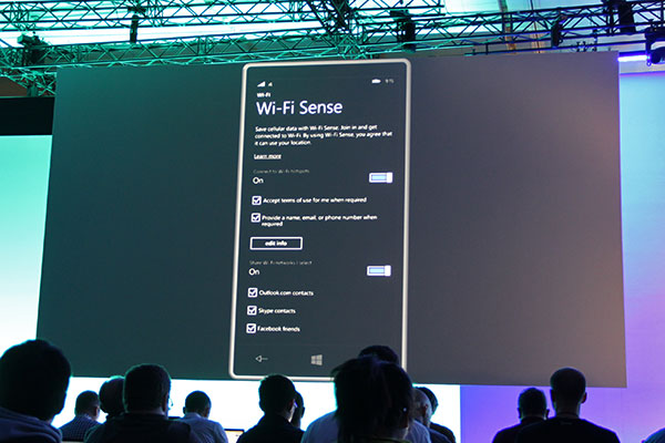 Wi-Fi Sense is something new; it enables smart sign-in to Wi-Fi networks, so that you save on cellular data costs.