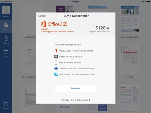 You need to pay an annual subscription fee for creating and editing Office documents on the iPad.