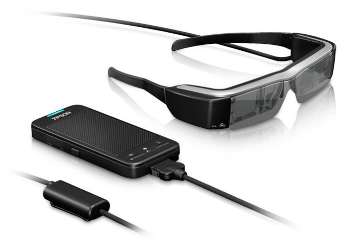 Everything that comes with the Moverio BT-200 - battery, control unit and glasses.