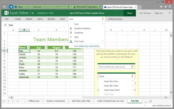 Users Can Now Use The Tell Me Feature In Excel Online