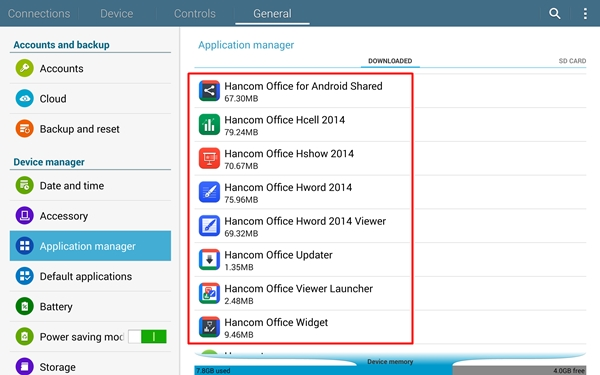 You have to access the Samsung App Store to download the Hancom Office for Android. That means you'll need to create and maintain a Samsung account to obtain this privilege.
