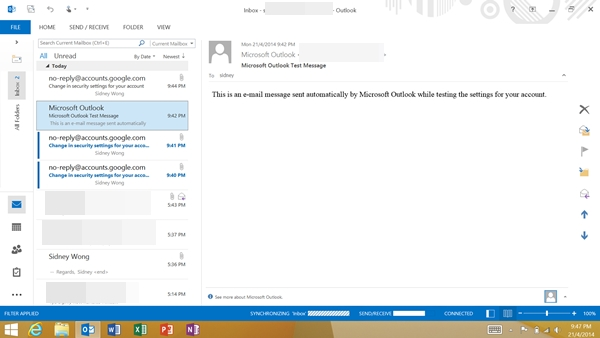 Microsoft Outlook 2013 on the Surface 2.
