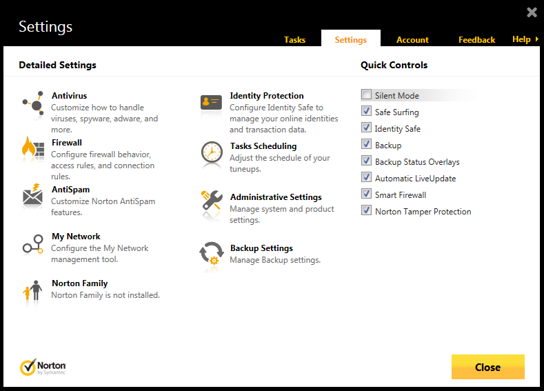 This section of Norton 360 Multi-Device's user interface presents more options for maintaining a protected desktop or laptop.