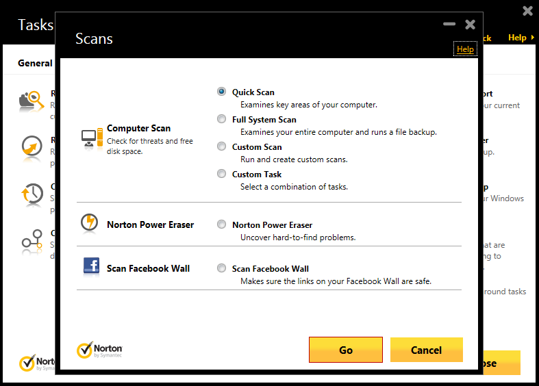Norton 360 Multi-Device offers different modes of malware scanning. Moreover, it features the more aggressive Norton Power Eraser. Knowing that Facebook can be a source of infection, Facebook Wall scanning is also included.