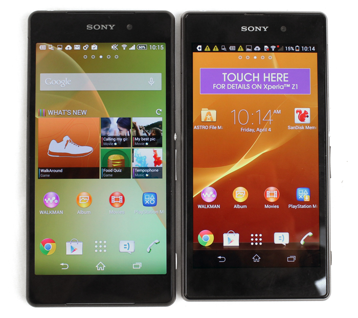 The Z2 (left) is slightly longer than the Z1 thanks to its 5.2-inch display.