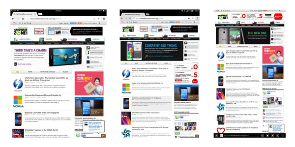 Left to right: iPad Air, Galaxy Tab Pro 10.1 and Surface 2. <br> Click for an enlarged version.