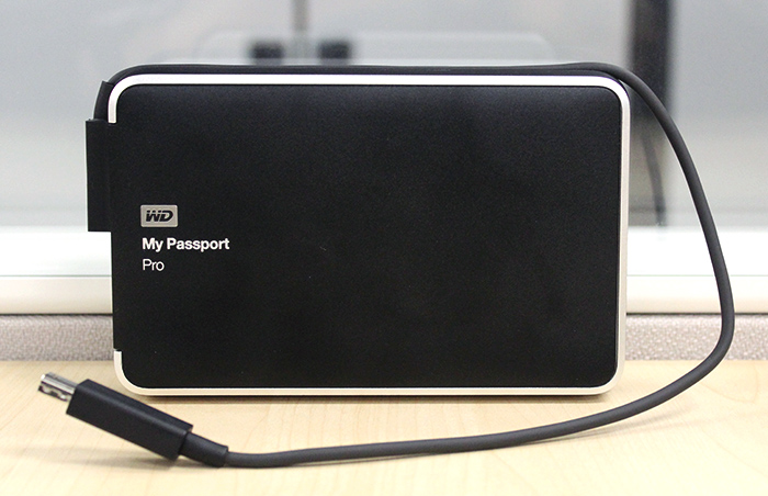 The My Passport Pro's Thunderbolt cable is integrated within the drive itself for added convenience.