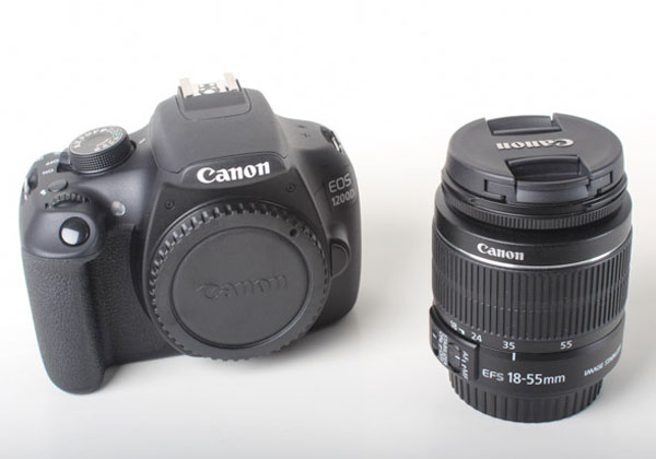 The Canon EOS 1200D and EF-S 18-55mm IS II kit lens.