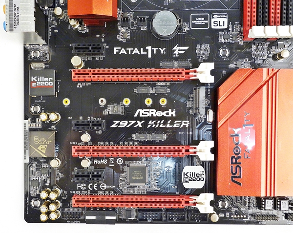 There are three PCIe Gen 3.0 x16 slots and a triplet of PCIe 2.0 x1 slots.