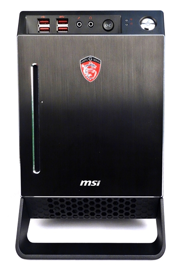 The MSI Nightblade is a mini-ITX barebone system that features the company's Z87I Gaming AC motherboard. It also includes a SilverStone 80 Gold Plus 600W ATX PSU, and a slot-loading DVD drive. There are intake vents at the bottom of the chassis, near the system stand/carrying handle.