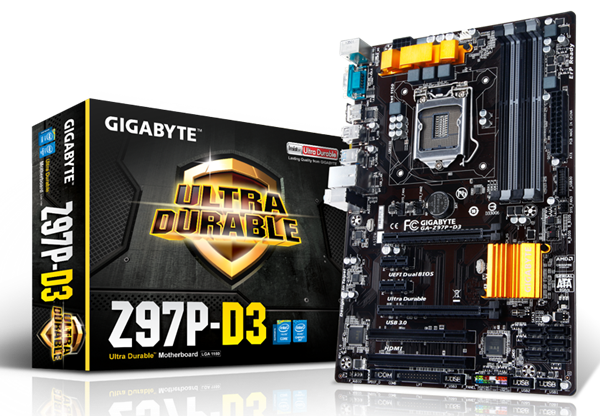 The GA-Z97P-D3. (Image Source: Gigabyte)