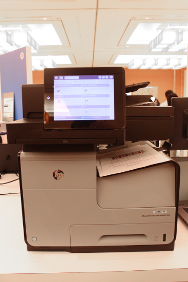 The Officejet X585 includes an 8-inch HP Easy Select pivoting touchscreen color control panel.