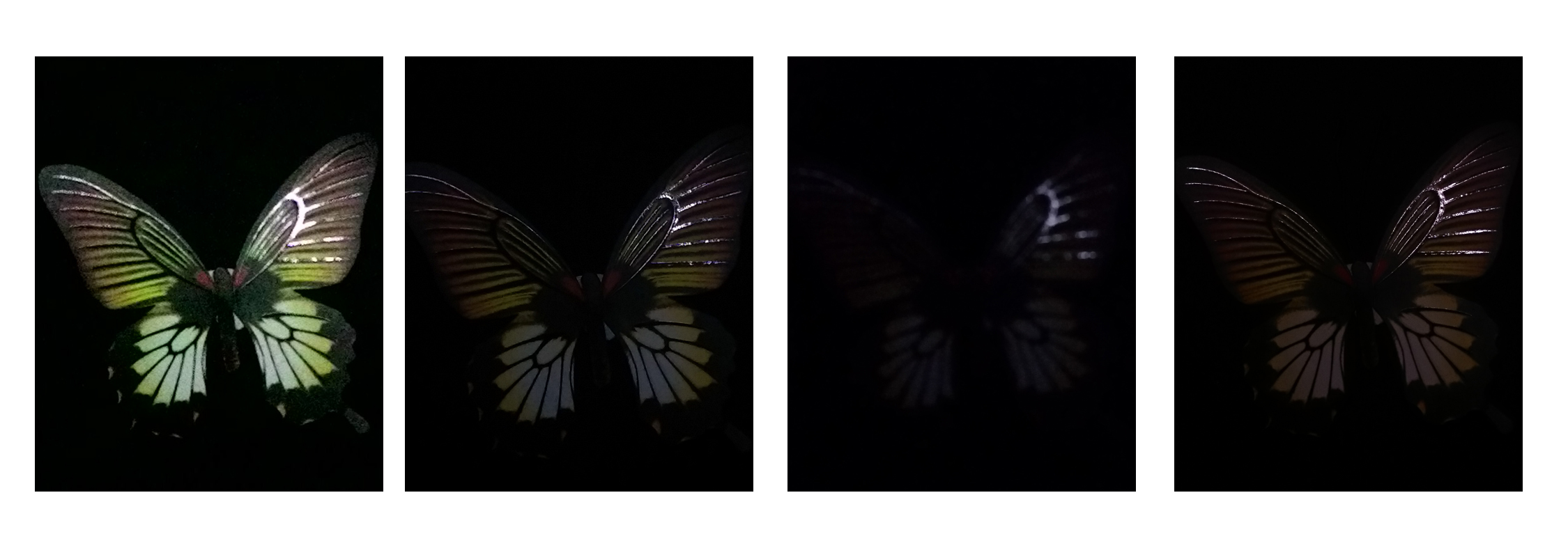 Photos taken in their respective low-light/night modes. <br> Left to right: ASUS ZenFone 5, HTC One (M8), Samsung Galaxy S5 and Sony Xperia Z2.