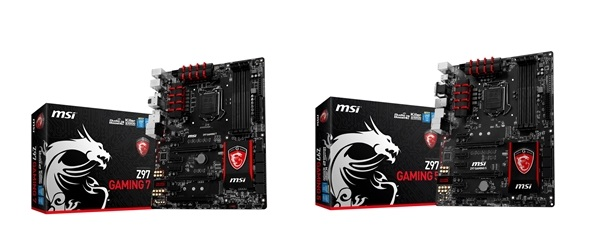 The MSI Gaming 7 and Gaming 5 motherboards.