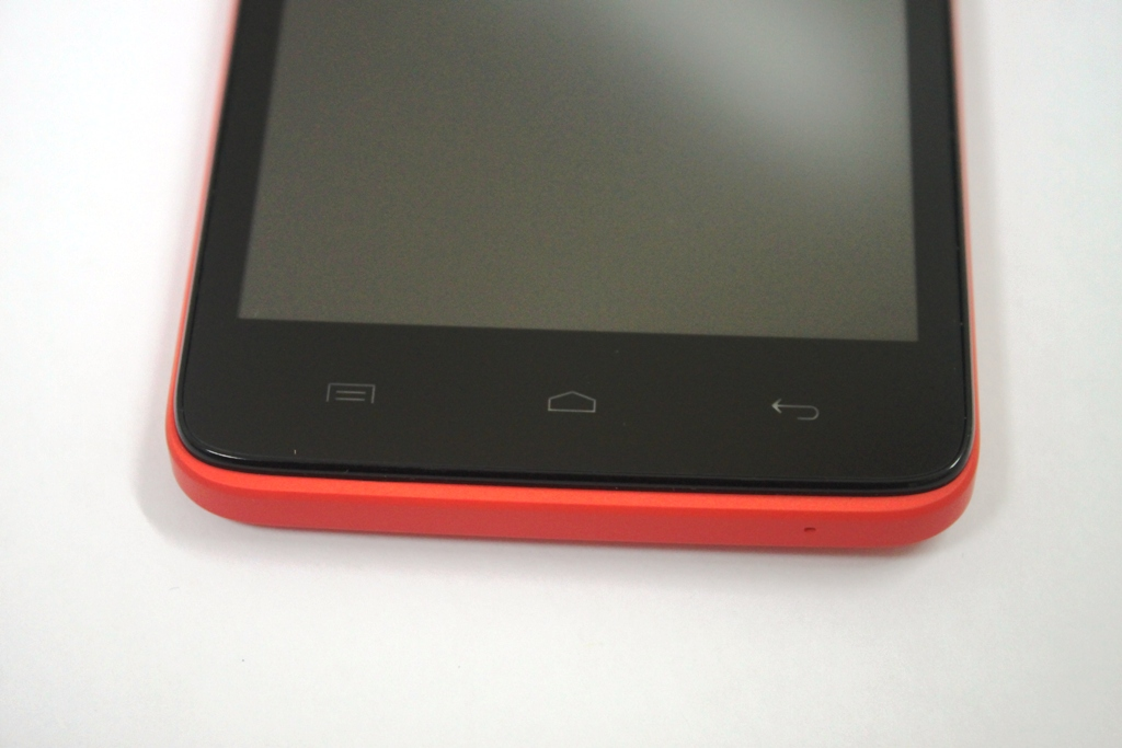 The capacitive buttons are located below the screen.