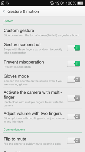 Here are some of the gestures and motion controls that you can execute on the Oppo R1