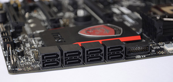 The Z97 Gaming 7 has a total of eight SATA 6Gbps ports.