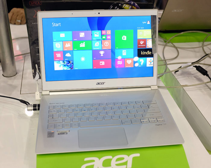 This Acer S7 Ultrabook has a 13.3-inch touchscreen display, and is powered by an Intel Core i5-4200U processor, with 8GB RAM and a 128GB SSD, Its sleek white chassis is protected by a Gorilla Glass 3 lid. It can be had at the PC Show for just $1898.