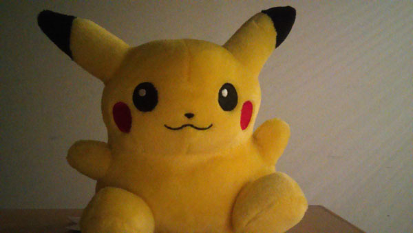 Pikachu taking a selca under low-light; front camera performs well too!
