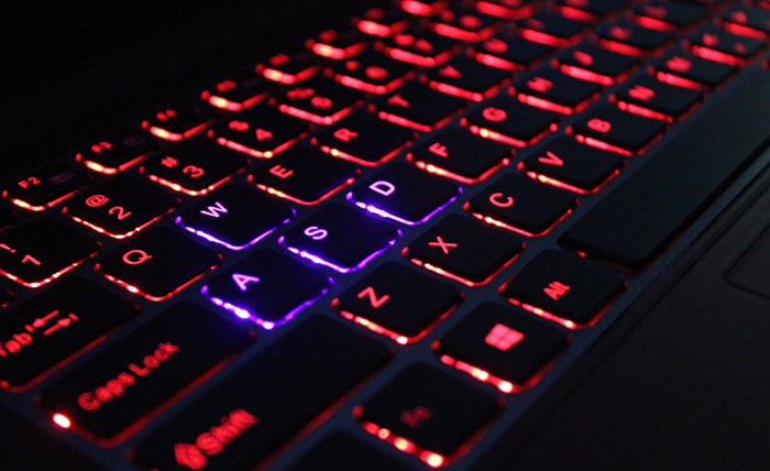 Our keyboard has red backlights with the exception of the WASD keys, which has purple backlights.