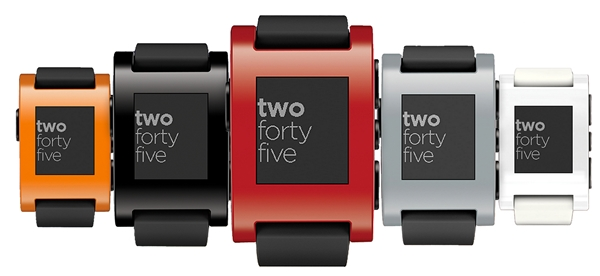 The Pebble E-Paper smart watch is available in five colors: jet black, cherry red, arctic white, orange and grey. <br>Image source: Pebble