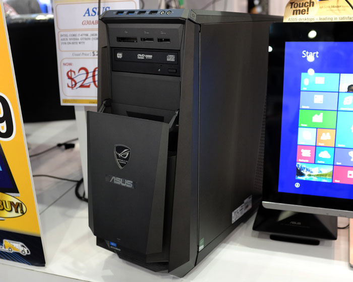 This fully-loaded ROG G30AM gaming desktop boasts one-touch processor overclocking, and a transforming chassis with liquid cooling. This model is armed with an Intel Core i7-4770K processor, 16GB RAM, 2TB HDD, and an NVIDIA GeForce GTX 650 GPU. It usually sells for $2,290, but is on promotion at PC Show for just $1,999.