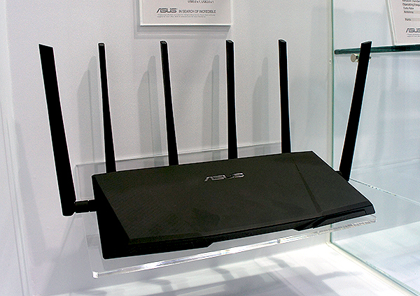 The RT-AC3200 router cuts a menacing figure with its six large antennae.