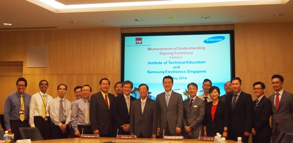 The signing of MOU was attended by principals of the three ITEs and senior management executives of Samsung Electronics Singapore.