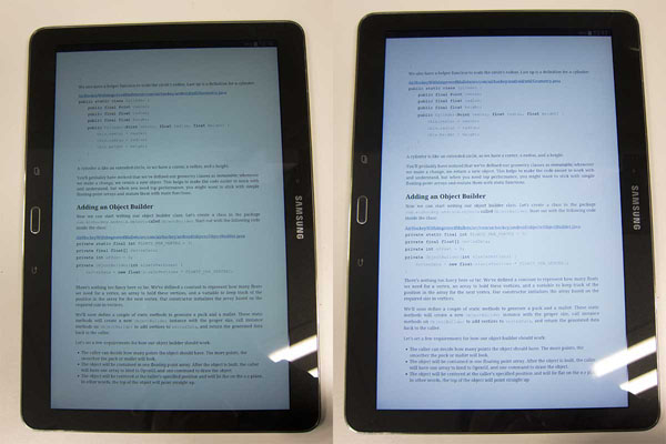 Left is reading mode on, right is without. Note that in reading mode, the white is slightly duller and softer