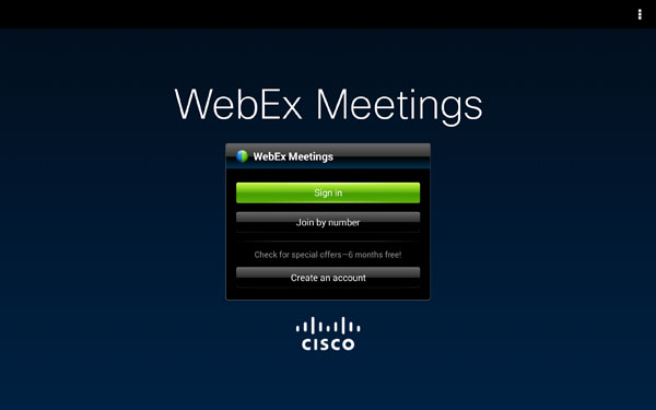 Cisco WebEx. Unfortunately we couldn't demo it as there wasn't any WebEx meeting scheduled during the duration of our review.