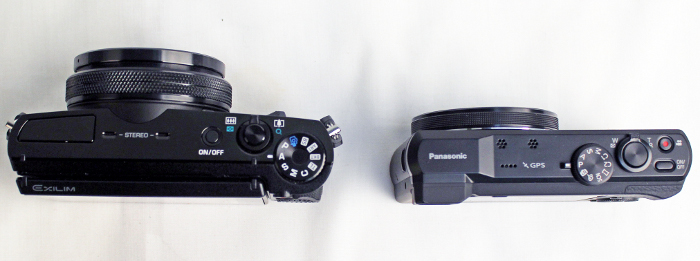 Just for illustration purposes, pictured here is the Casio EX-100 (left) and Panasonic TZ-60. The Panasonic TZ-60 is a compact superzoom with 30x optical zoom, but the Casio EX-100 has the ability to shoot at F2.8 throughout its 10.7x optical zoom. As you can see, the Casio EX-100 has a thicker lens barrel to account for the larger glass needed for the constant wide aperture. The Casio EX-100 isn't a direct competitor of the compact superzoom category, but it does have some features that make it a suitable travel compact.