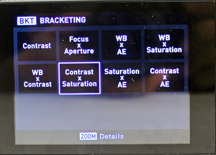 The EX-100's Intelligent Bracketing function offers various combinations of shoot settings so you can get different results without having to manually adjust the setting multiple times.