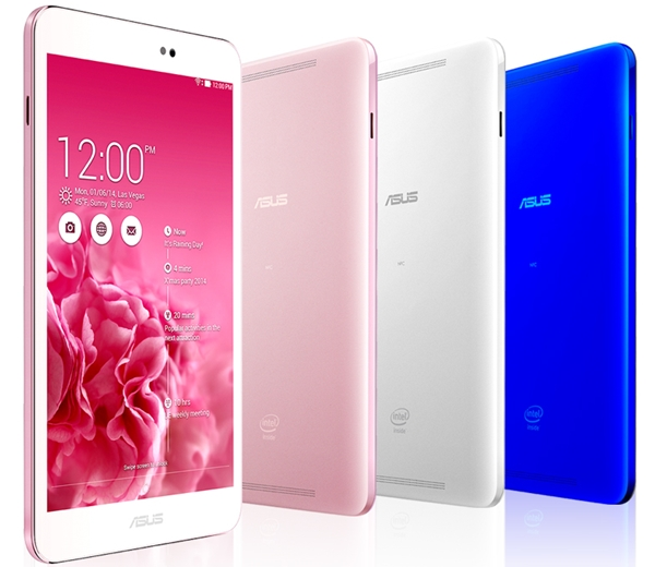 The ASUS MeMO Pad 8 (ME581CL) is available in white, pink and blue. <br> Image source: ASUS
