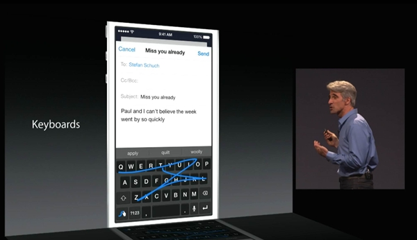 iOS 8 now supports third party keyboards.