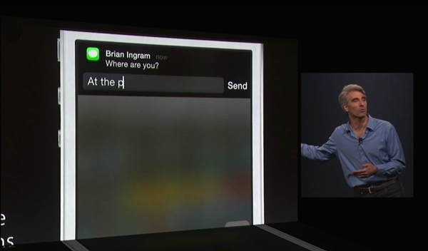 You can act on notifications in iOS 8.