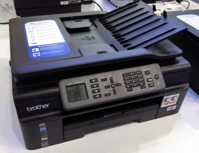 The Brother MFC-J470DW has print, copy, scan and fax capabilities. Print speed is up to 12 pages per minute (PPM) for mono documents and 10ppm for color documents. It goes for $218 and comes with a free $20 shopping voucher.