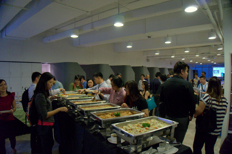 While some of the attendees checked out the tablet spread, others were busy at the buffet spread, specially prepared for the evening event.