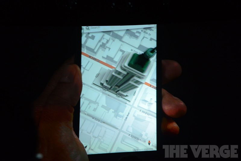 Maps pop out with 3D buildings.