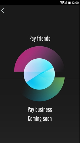 Swipe up to pay friends and swipe down to pay businesses.
